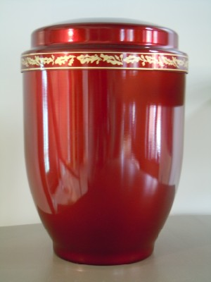 urne eikenblad rood